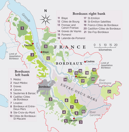 map of Bordeaux wine regions