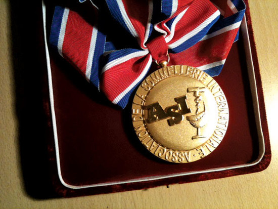 Medal of the Best Sommelier in the World Award 2010 won by Gerard Basset MW MS OBE