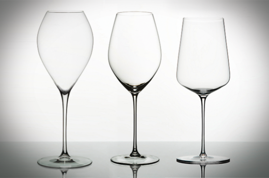 Left to right: Jamesse Grand Champagne glass; Riedel Veritas Champagne Wine glass; Zalto Dank'Art Universal glass