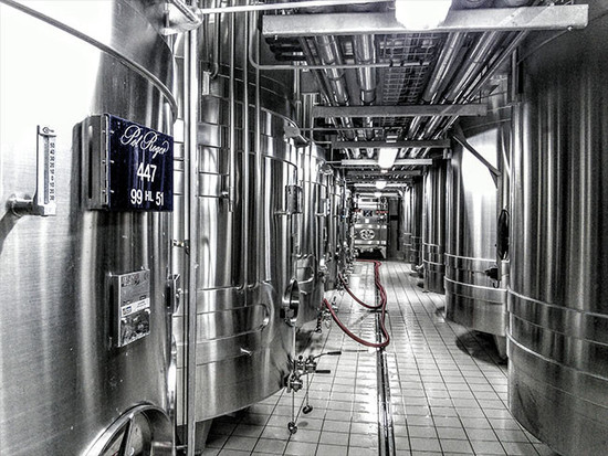 Image: stainless steel vats at Pol Roger Champagne, credit Andrew Jefford