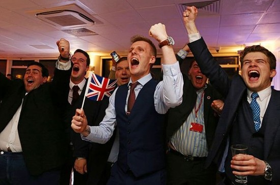 Image: Brexit supporters celebrate after the EU referendum. Credit: Geoff Caddick / AFP / Getty Images