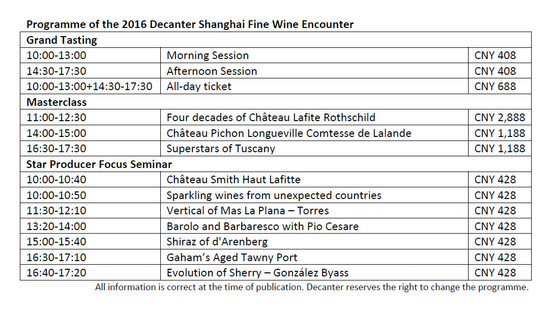 Image: 2016 Decanter Shanghai Fine Wine Encounter programme