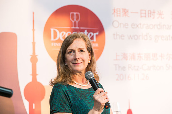 Image: Sarah Kemp, Managing Director of Decanter announcing the programme of the 2016 Decanter Shanghai Fine Wine Encounter