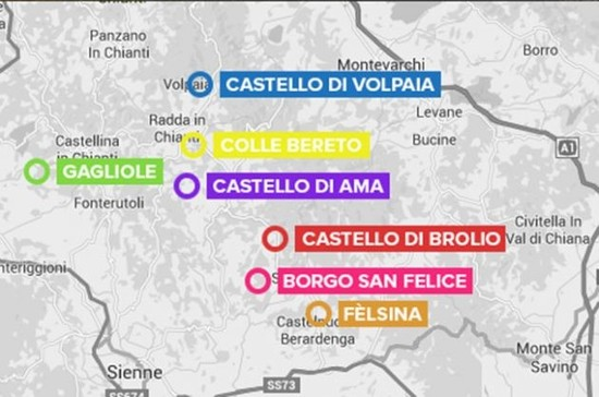 Image: map of Tuscan winery art tour