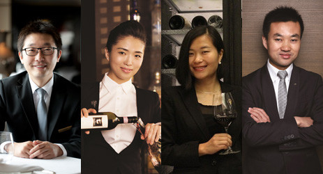 Image: Chinese sommeliers (from left to right) Lu Yang, Li Meiyu, Guo Ying and Jerry Liao