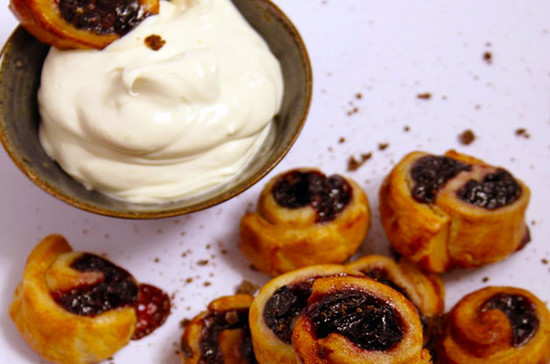 Image: Individual cherry rolls served with rum Chantilly– recipe