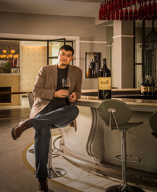 Image:Yao Ming in Yao Family Wines Tasting Room. Credit: Ed Aiona for Yao Family Wines