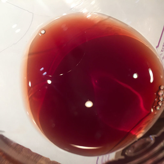 Image: The colour of the 1997 vintage Tertre Roteboeuf, credit Li Demei