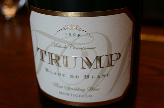 A bottle of Trump sparkling wine. Credit: Andrew Jefford.