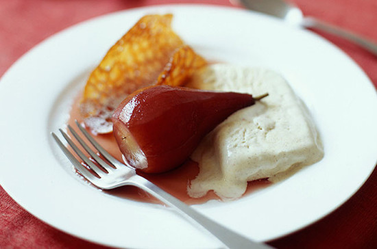 Pears poached in mulled wine with cinnamon parfait… Credit: timeincukcontent.com