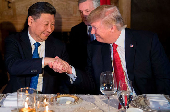 President and Donald Trump and president Xi Jinping prepare to dine together. Credit: Jim Watson / AFP / Getty