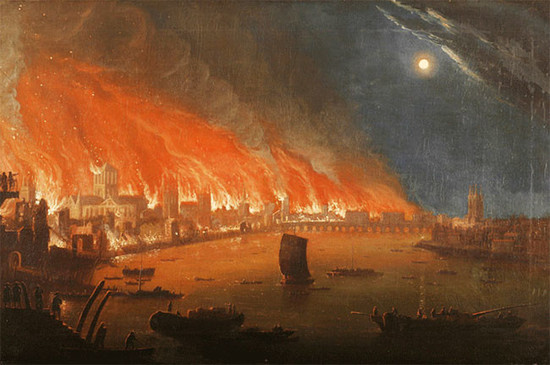 An artist's impression of the Great Fire of London in September 1666.	Credit: Unknown artist / London Fire Brigade / Flickr