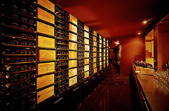 An impressive wine selection at Château-Cordeillan Bages restaurant in Bordeaux