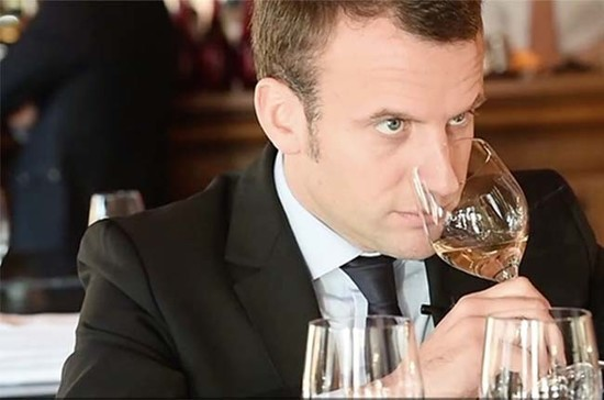 Newly-elected French president shows off his wine tasting skills. Image Credit: Terre de Vins.