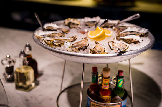 Oysters on the bar at Wright Brothers oyster house in Spitalfields, London. Credit: The Wright Brothers