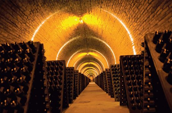 Riddling racks in Krug cellars