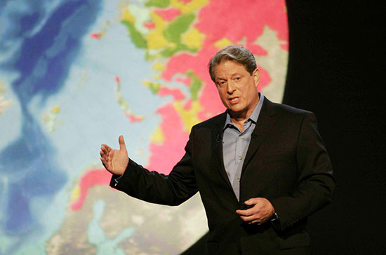 Al Gore explains his views on climate change 10 years ago. Credit: Moviestore Collection / Alamy
