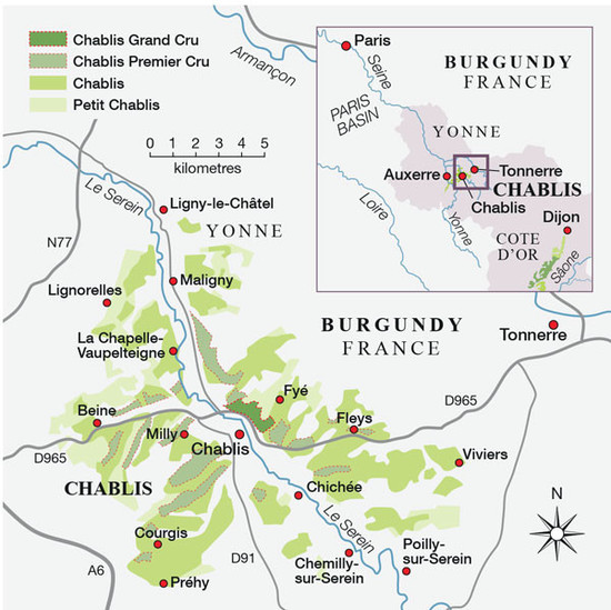 Image: Map of Chablis, credit Decanter