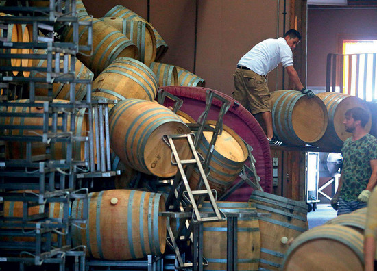 Workers move fallen wine barrels at Saintsbury Winery in Carneros following the 2014 earthquake that shook southern Napa