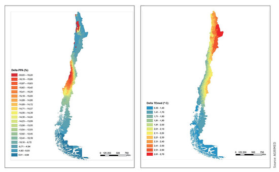 Above: predicted rain decrease (left) and average temperature increase (right) in Chile by 2050. Source: AGRiMED