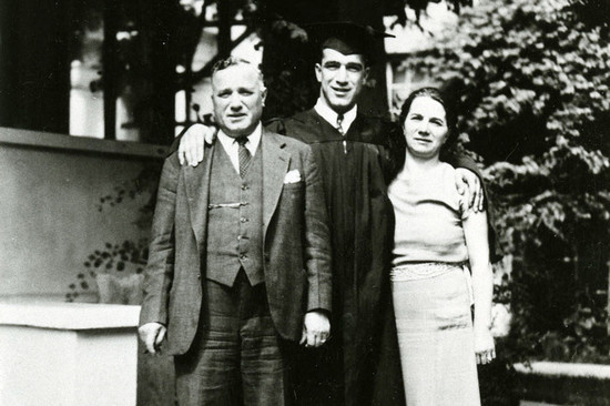 L-R: Cesare Mondavi, Robert Mondavi and Rosa Mondavi at Stanford University in 1936. (Image credit: UC Davis Special Collections)