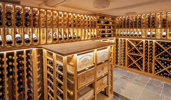 Image: a basement cellar built by Sorrells Custom Wine Cellars