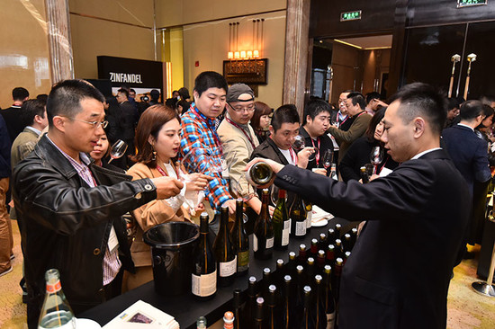 Guests enjoy a selection of wines at the Pinot Noir counter in the California room