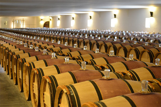 The Mouton Rothschild barrel room.