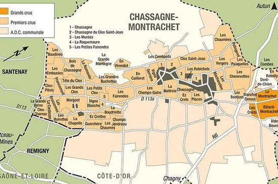 Map of Chassagne-Montrachet, Burgundy. Credit: BIVB.
