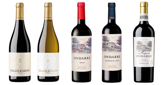 Left to right, Valdebaron, Ondarre Gran Reserva, Ondarre Reserva and Mayor de Ondarre