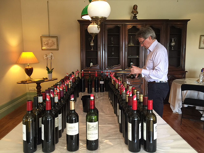 Image: Steven Spurrier, Consultant Editor of Decanter, at en primeur 2015 tasting