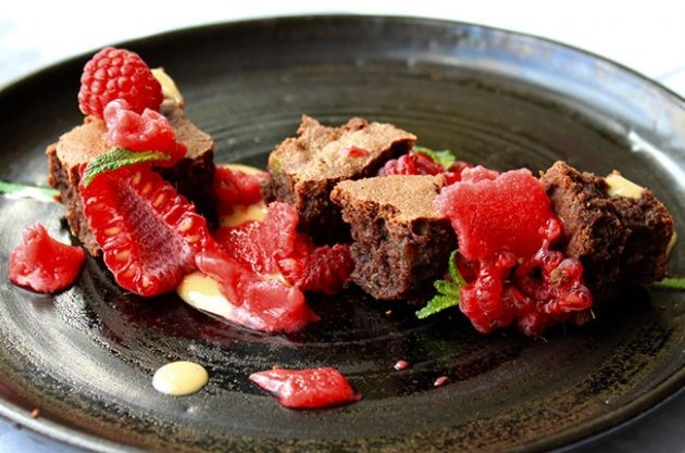 Brownie, raspberry sorbet and crème anglaise